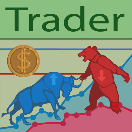 Trade bulls prices up and bears prices down constantly go the struggle for prices to buy and sell to earn a lot of money! Illustration
