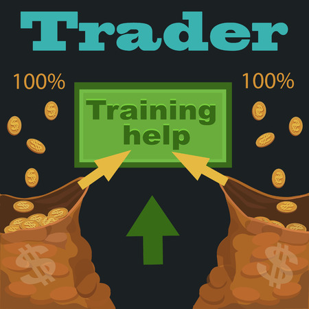 Trader training help with dollar and arrow up signs