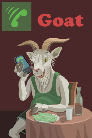 A goat sits at the table he drinks wine jammed cabbage, he is indifferent to others to friends and relatives, and everyone who condemns it and surround! Illustration