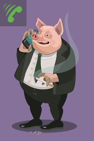 Pig rings the phone Smoking a cigarette throws ashes violates the order, there is no culture to make a call to laugh who is calling you!