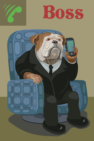 Dog Bulldog boss sitting in a chair he was on his mobile phone, he listens carefully and gives instructions to his subordinates in the work Vector illustration.