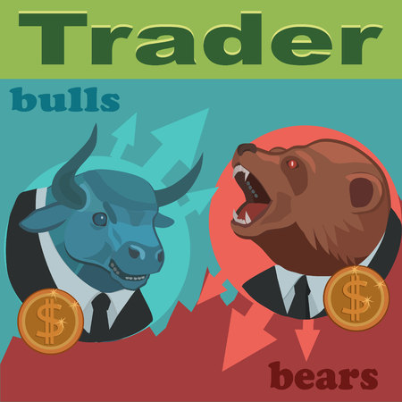 Traders bulls and bears are constantly fighting for the prices to buy and sell to profitably earn a lot of money! Banco de Imagens - 99603090