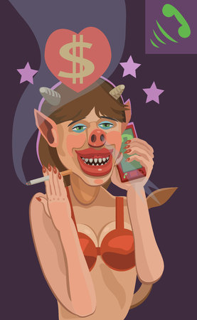 The devil girl is calling in the phone vector illustration Illustration