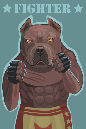 Dog Pitbull fighter vector illustration. he stands in the ring he has a strong grip he defends and attacks to achieve victory on your mobile phone Illustration