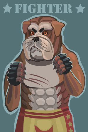 Dog bulldog fighter vector illustration. he stands in the ring he attacks and defends and achieves victory this screensaver on your mobile phone