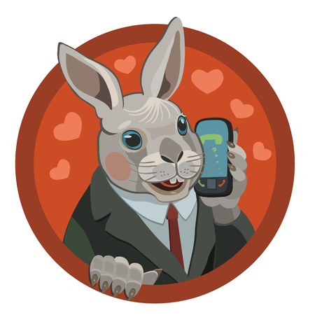 Loving rabbit calls on the mobile phone of his beloved he sends hearts of love to her