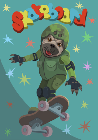 Dog pug rides a skateboard he flies up on the Board and enjoys this moment of happiness! Çizim
