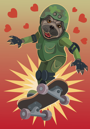 Dog pug loves to skateboard he flies up to the sky and happy, and enjoys this flight on the Board!