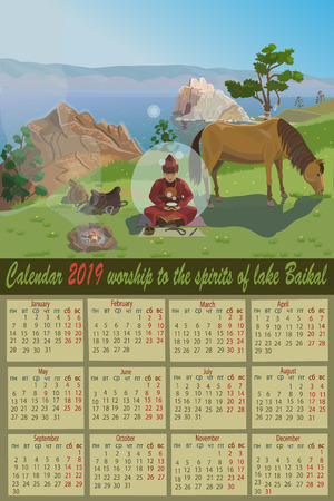 Calendar 2019 spy of lake Baikal at Cape Burhan near the sacred place