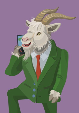 illustration goat talking on phone