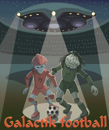 Aliens playing football illustration.