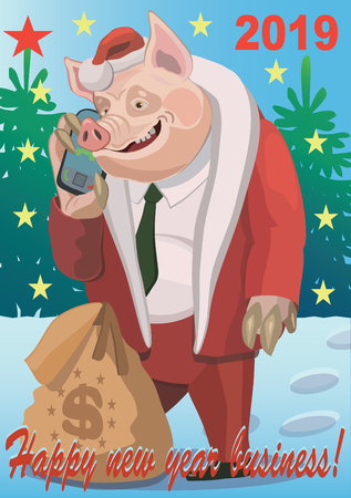 Pig talking on a mobile phone, congratulating you! Иллюстрация