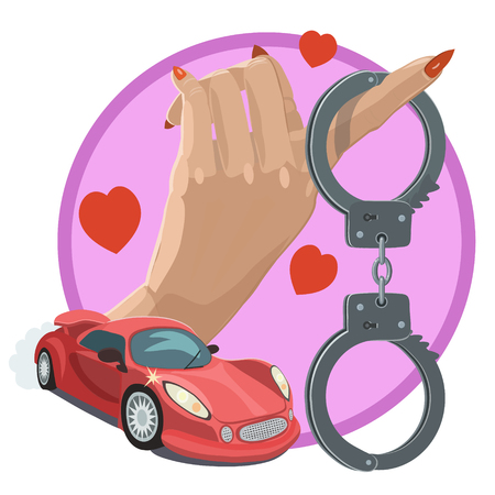 handcuff with red car