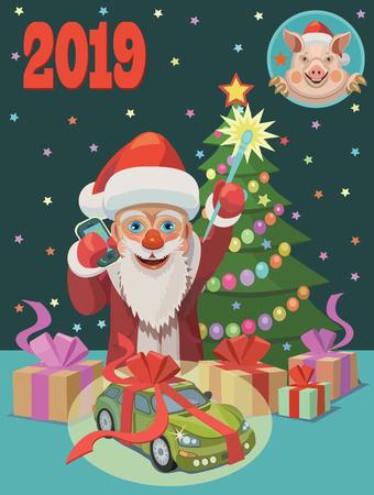 Santa Claus congratulates Ilustração