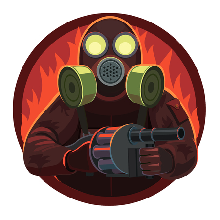 Soldier gas mask with grenade launcher, he stands proudly because he has a weapon, he is invincible spirit!