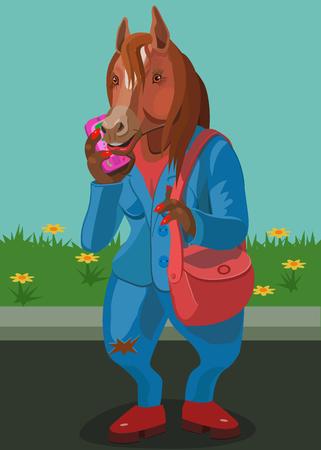 Horse talking on mobile phone Çizim
