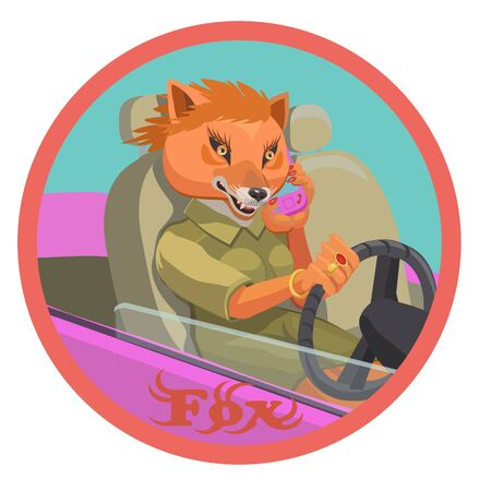Fox talking on a mobile phone holding the steering wheel of the car, she is happy with her life, make a screensaver on your phone who is calling you?