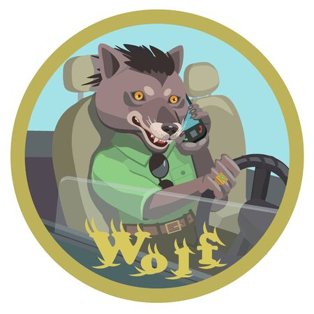 Wolf talking on a mobile phone, holding the steering wheel of the car, he is happy with his life, make a screensaver on your phone who is calling you?  イラスト・ベクター素材