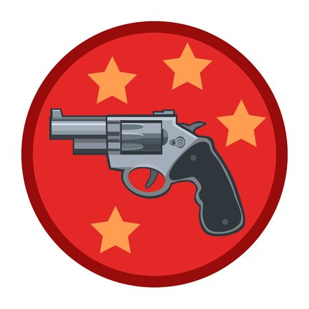 Revolver gun with a rotating drum with the stars icon