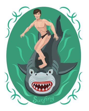 Surfing a young guy rides a shark like a surfboard, he is brave and agile he risks and overcomes his fear!