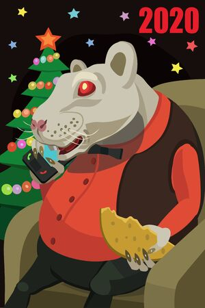 The year of the white rat is 2020, happy sitting in a chair she has food cheese, she calls on her mobile phone and wishes everyone a happy new year!