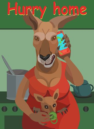 Kangaroo woman she with a small kangaroo feeds him a nipple and calls on the phone to her husband, so he quickly went home and did not go where