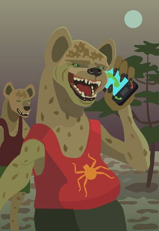 Hyenas call their mobile phone at night in their territory to trick their prey or any of your fantasy