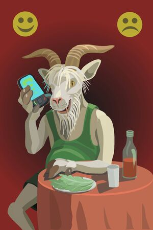 The goat sits at the table, calls on the phone, drinks wine, eats cabbage, he does not care about everything around him, and he is stubborn Illustration