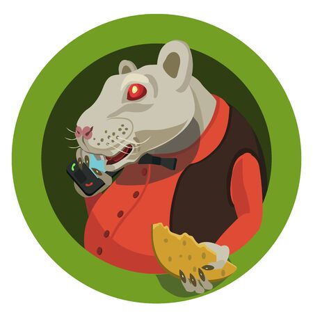 Year 2020 on Chinese horoscope white rat, she ringing on the telephone in red shirt with butterfly she has slice of cheese and congratulates all holiday! Ilustração