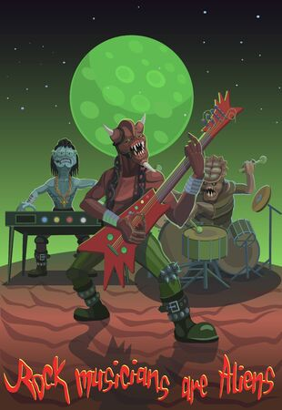 Rock musicians aliens came to a musical duel to show their abilities by playing instruments and voices
