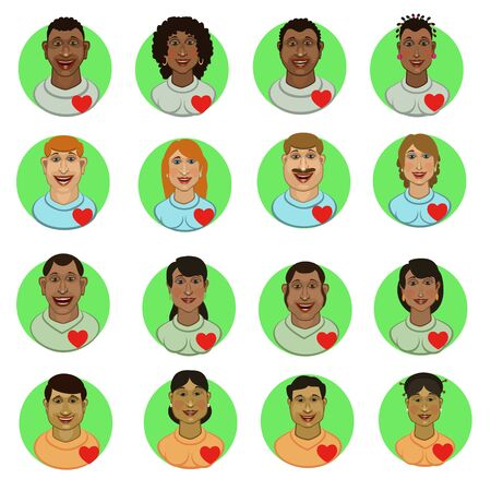 People of different races Negro, European, Asian, Arab nationality, avatar, icons for communication on the Internet in social networks