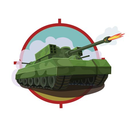 Armored tank with a rocket launcher, equipped with machine guns around the tank and disguised as combat maneuvers and firing missiles at the enemy
