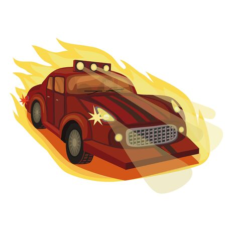 The car participates in races, it rushes at high speed, leaving behind a flame of fire, and lights the road to its goal