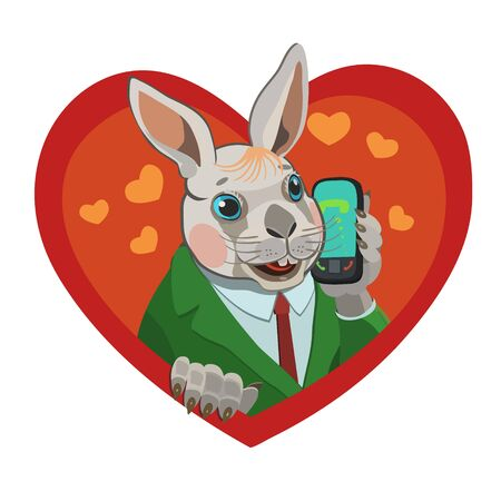 The rabbit calls the mobile phone, he loves it, loves it happy and satisfied with his life! Ilustração