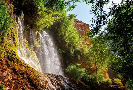 the large waterfall of Akhlamad in Iran
