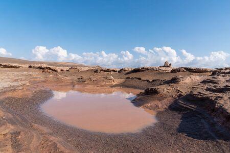 the rain water in lut desert in iran Reklamní fotografie