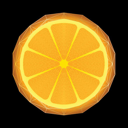 simple cross section: Vector illustration of stylized orange with triangle polygon structure