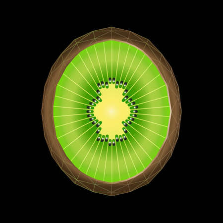 Stylized kiwi fruit with triangle polygon structure. Vector illustration