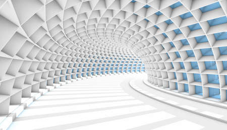 White Abstract Tunnel with blue rectangle windows. 3d Render illustration Archivio Fotografico