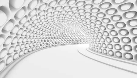 White Abstract Tunnel 3d Background. 3d Render illustration
