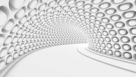 modern interior: White Abstract Tunnel 3d Background. 3d Render illustration