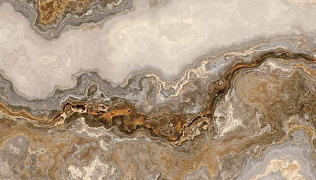 Beautiful grey curly marble with golden veins. Abstract texture and background. 2D illustration