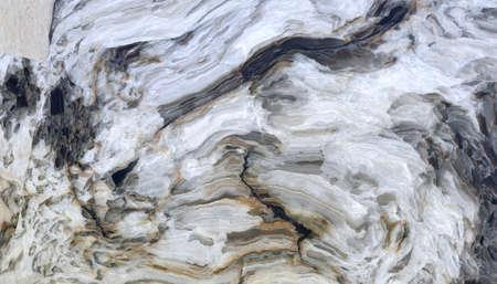 Motif en marbre avec des veines grises et noires bouclées. Texture abstraite et fond. Illustration 2D