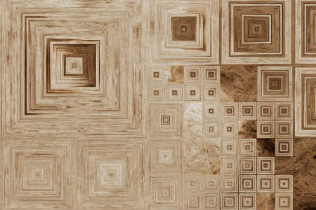 Grid of different size squares on a wooden background. Archivio Fotografico