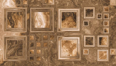 Grid of different size squares like a picture frames on a wooden background. 2d illustration Archivio Fotografico