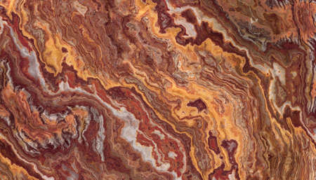 Red onyx marble with curly white and orange veins. Abstract texture and background. Soft colored 2D illustration Stock Photo