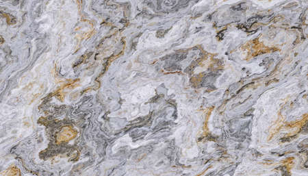 The tile of white onyx abstract background with golden and grey veins. 2D illustration. Natural beauty