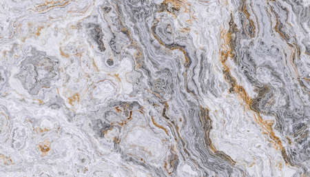 Marble pattern with curly grey and golden veins. Abstract texture and background. 2D illustration