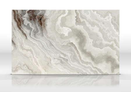 Baldosas de mármol ónix de pie sobre el fondo blanco con reflejos y sombras. Textura para el diseño. Ilustración 2D. Belleza natural