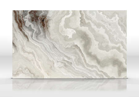 Onyx marble tile standing on the white background with reflections and shadows. Texture for design. 2D illustration. Natural beauty Banco de Imagens
